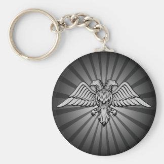 Águila gris con dos cabezas llavero redondo tipo chapa