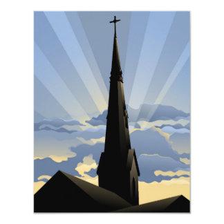 Aguja de la iglesia en el amanecer invitación 10,8 x 13,9 cm