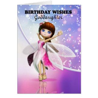 Ahijada, baile de hadas lindo del feliz cumpleaños tarjeta de felicitación