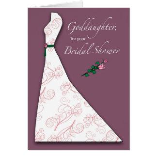 Ahijada, ciruelo nupcial de la silueta del vestido tarjeta de felicitación