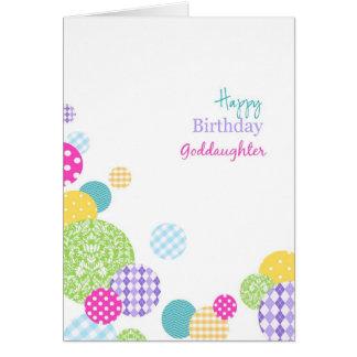 Ahijada colorida del feliz cumpleaños de los tarjeta de felicitación