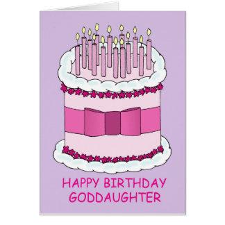 Ahijada del feliz cumpleaños, torta rosada tarjeta de felicitación