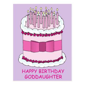Ahijada del feliz cumpleaños, torta rosada postal