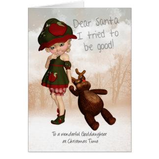 Ahijada, estimada tarjeta de Navidad linda retra