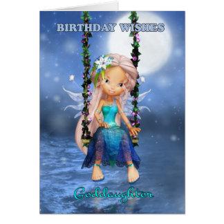 Ahijada, hada linda del feliz cumpleaños en un tarjeta de felicitación