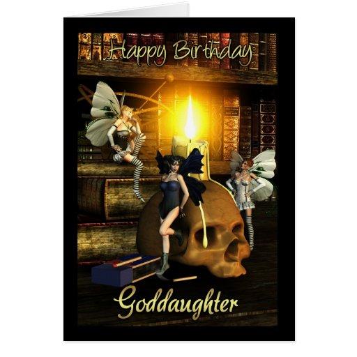 ahijada, luces de hadas - tarjeta de cumpleaños de