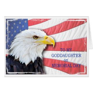 Ahijada, Memorial Day, con un águila calva Tarjeta De Felicitación