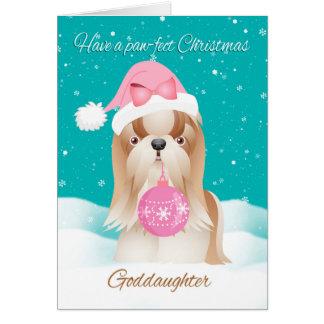 Ahijada, perro de Shih Tzu con el gorra lindo de Tarjeta De Felicitación