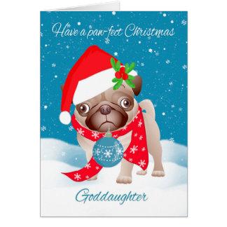 Ahijada, perro del barro amasado con el gorra tarjeta de felicitación