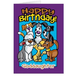 Ahijada, perros de la celebración del cumpleaños, tarjeta de felicitación