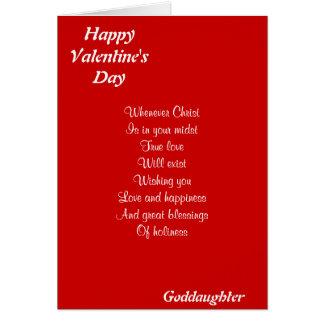 Ahijada religiosa del el día de San Valentín Tarjeta De Felicitación