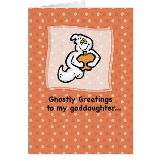 Ahijada, saludos fantasmales tarjeta de felicitación