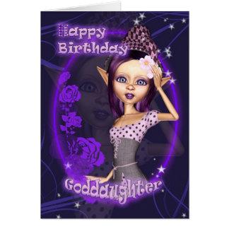 Ahijada - tarjeta de cumpleaños con el duende lind