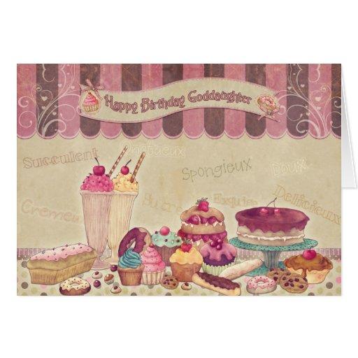 Ahijada - tarjeta de cumpleaños - tortas y dulces