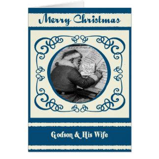 Ahijado de Santa del vintage y su navidad de la Tarjeta De Felicitación