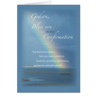 Ahijado, enhorabuena del arco iris de la tarjeta