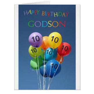 Ahijado, globos coloreados 10mo cumpleaños tarjeta de felicitación grande