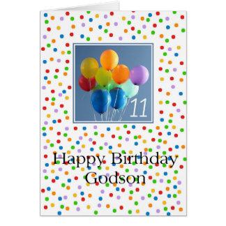Ahijado, globos coloreados 11mo cumpleaños tarjeta de felicitación