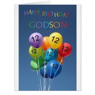 Ahijado, globos coloreados 12mo cumpleaños tarjeta de felicitación grande