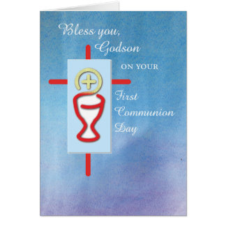 Ahijado, primera comunión santa, azul tarjetas