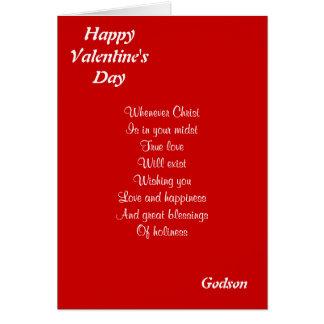 Ahijado religioso del el día de San Valentín Tarjeta De Felicitación