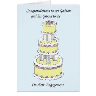 Ahijado y su novio en su compromiso tarjeta de felicitación