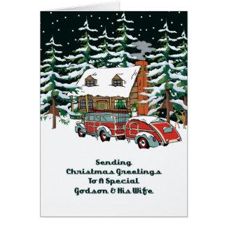 Ahijado y sus saludos del navidad de la esposa tarjeta de felicitación