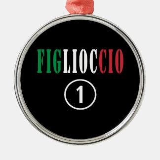 Ahijados italianos: Uno de Figlioccio Numero Adorno Redondo Plateado