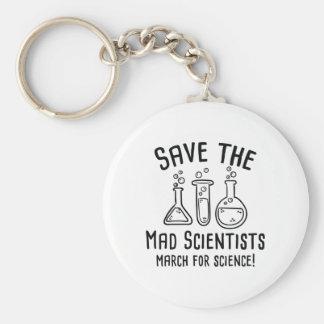 Ahorre a los científicos enojados llavero redondo tipo chapa