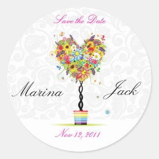 Ahorre a los pegatinas florales A030 del boda lind Etiquetas Redondas
