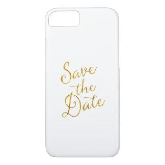 Ahorre compromiso de la hoja del oro de la cita de funda iPhone 7