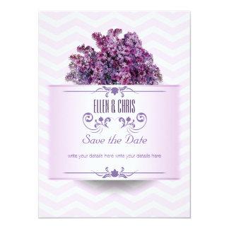 Ahorre el adorno de la púrpura de la fecha invitación 13,9 x 19,0 cm