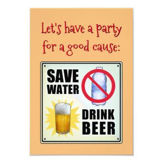 Ahorre el agua - cerveza de la bebida invitación 8,9 x 12,7 cm