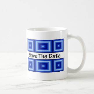 Ahorre el azul del disco de la fecha tazas