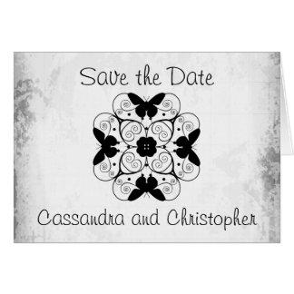 Ahorre el blanco y negro elegante de la fecha tarjeta pequeña