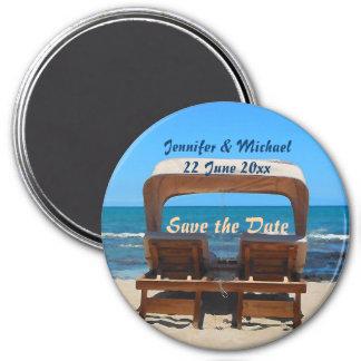 Ahorre el boda de playa de la fecha imán redondo 7 cm