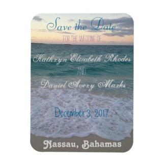 Ahorre el boda de playa de la fecha imanes de vinilo