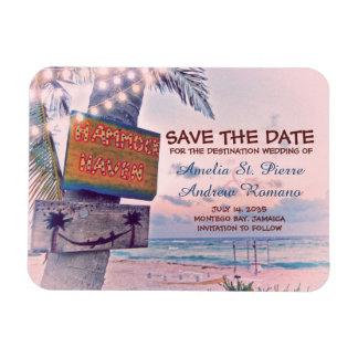 Ahorre el boda de playa romántico de la luz de la imán