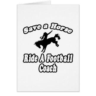 Ahorre el caballo, entrenador de fútbol del paseo felicitacion