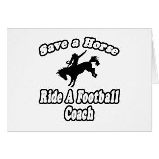 Ahorre el caballo entrenador de fútbol del paseo felicitacion