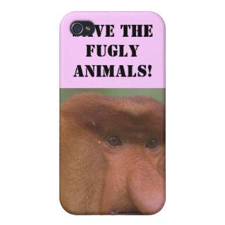 Ahorre el caso 2 del iPhone de los animales de Fug iPhone 4 Protectores