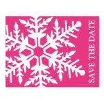Ahorre el copo de nieve enorme de la fecha (rosado postales