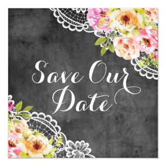 Ahorre el cordón rústico de los rosas del boda del invitación 13,3 cm x 13,3cm