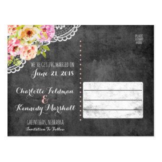 Ahorre el cordón rústico de los rosas del boda del postal