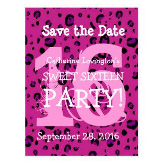 Ahorre el cumpleaños rosado V11 del leopardo del d Tarjeta Postal