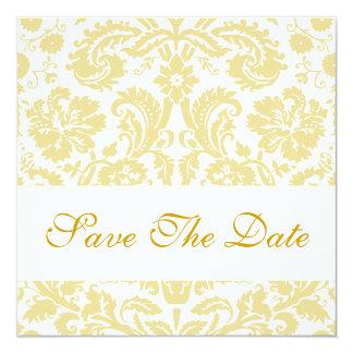 Ahorre el damasco floral poner crema blanco de la invitación 13,3 cm x 13,3cm