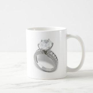 Ahorre el Date/He ponen un anillo en él Taza Básica Blanca