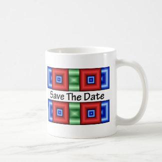 Ahorre el disco de la fecha taza de café