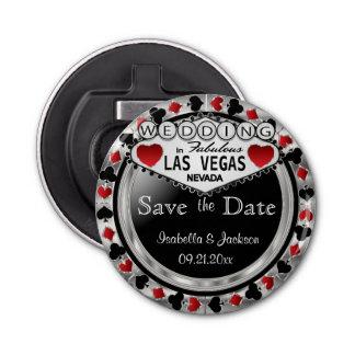 Ahorre el estilo de Las Vegas de la fecha - plata Abrebotellas Redondo