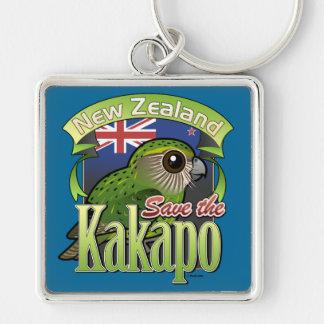 Ahorre el Kakapo de Nueva Zelanda Llavero Cuadrado Plateado